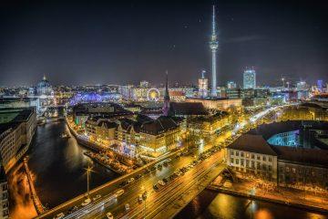 Berlin at night showing Alexanderplatz