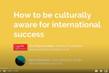 Webinar title page, text 'How to be culturally aware for international success'