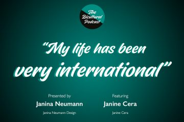 """The Bicultural Podcast logo, """"My life has been very international"""""""