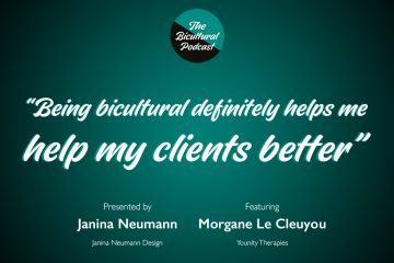 """The Bicultural Podcast logo, """"Being bicultural definitely helps me help my clients better"""""""