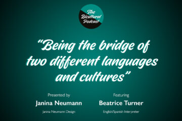 """The Bicultural Podcast logo, """"Being the bridge of two different languages and cultures"""""""