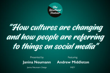 """The Bicultural Podcast logo, """"How cultures are changing and how people are referring to things on social media"""""""