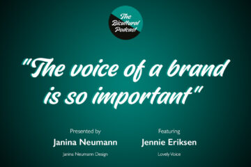 """The Bicultural Podcast logo, """"The voice of a brand is so important"""""""