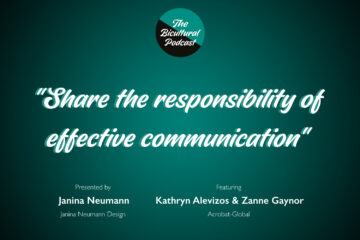 """The Bicultural Podcast logo, """"Share the responsibility of effective communication"""""""