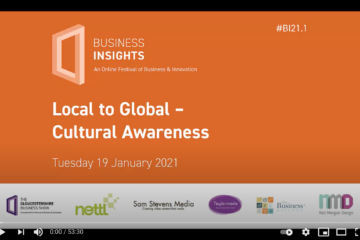 Webinar title page, text 'Local to Global Cultural Awareness'