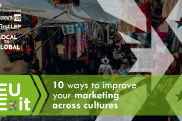 Outdoor clothes market, text '10 ways to improve your marketing across cultures'