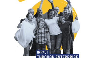 Black and white photo of 8 people of varying ages looking happy, text 'impact through enterprise'