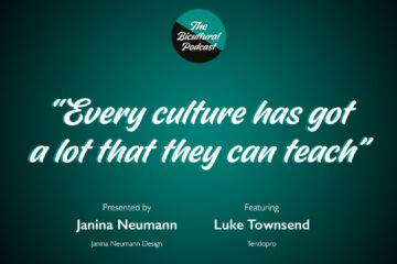 """The Bicultural Podcast logo, """"Every culture has got a lot that they can teach"""""""