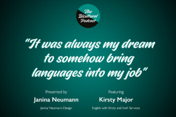 """The Bicultural Podcast logo, """"It was always my dream to somehow bring languages into my job"""""""