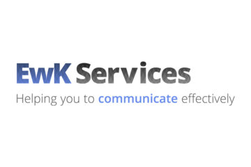 EwK Services logo, text 'helping you to communicate effectively'