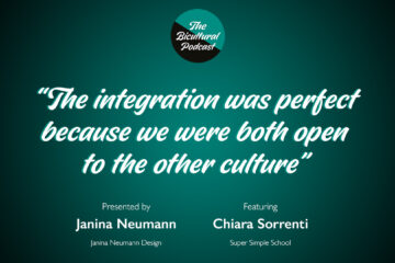 """The Bicultural Podcast logo, """"The integration was perfect because we were both open to the other culture"""""""