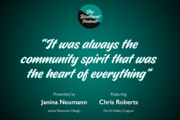 """The Bicultural Podcast logo, """"It was always the community spirit that was the heart of everything"""""""