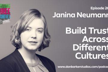 "Headshot of Janina Neumann, text says ""Episode 20: Janina Neumann, build trust across different cultures"""
