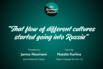 """The Bicultural Podcast logo, """"That flow of different cultures started going into Russia"""""""