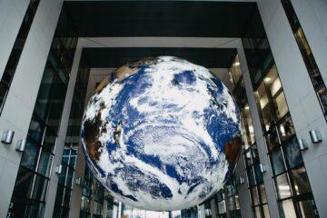 Globe outside an office building